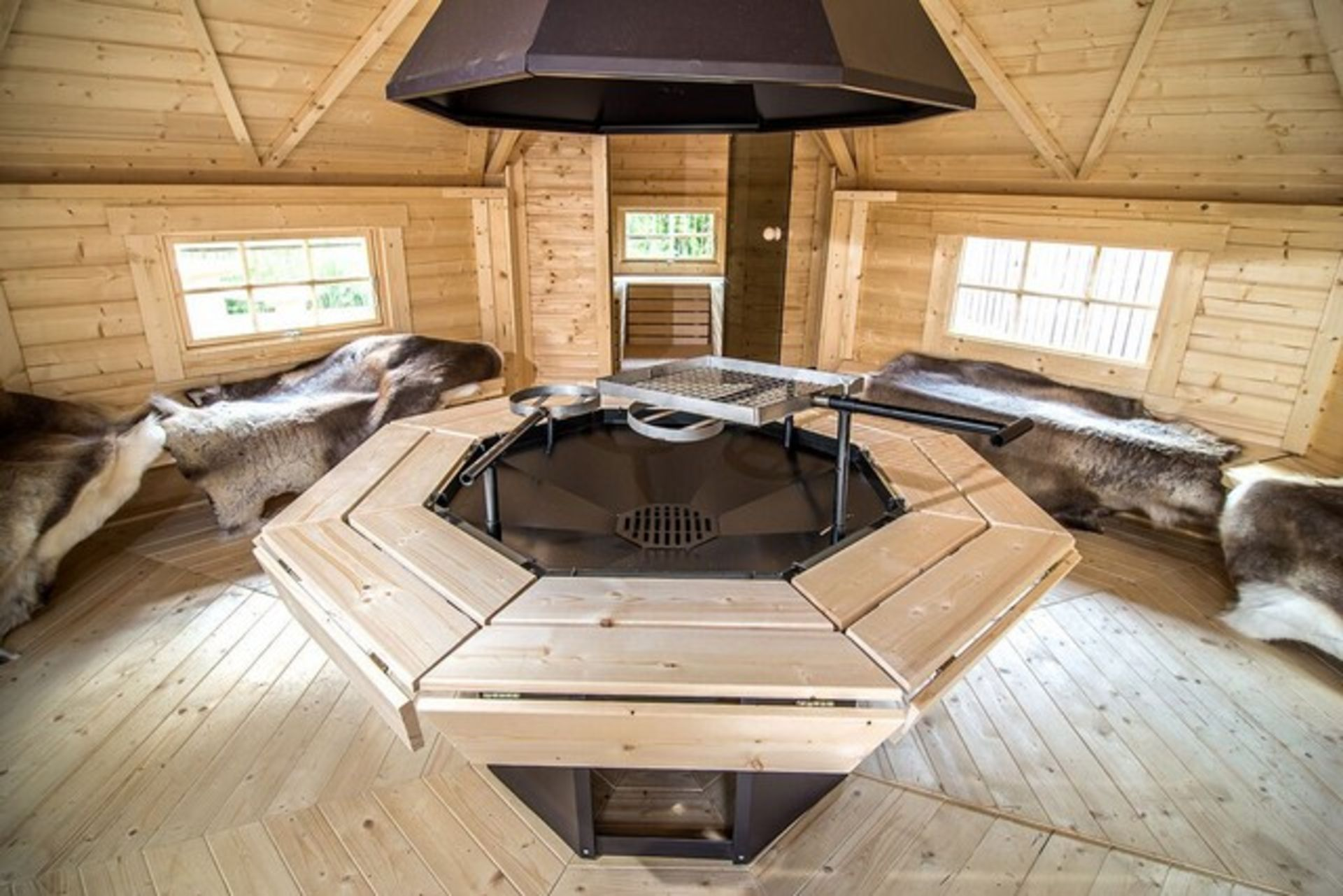 Lot 18049 - V Brand New 16.5m sq Grill Cabin with 4.3m sq Sauna Extension - Standard Grill - Table Around
