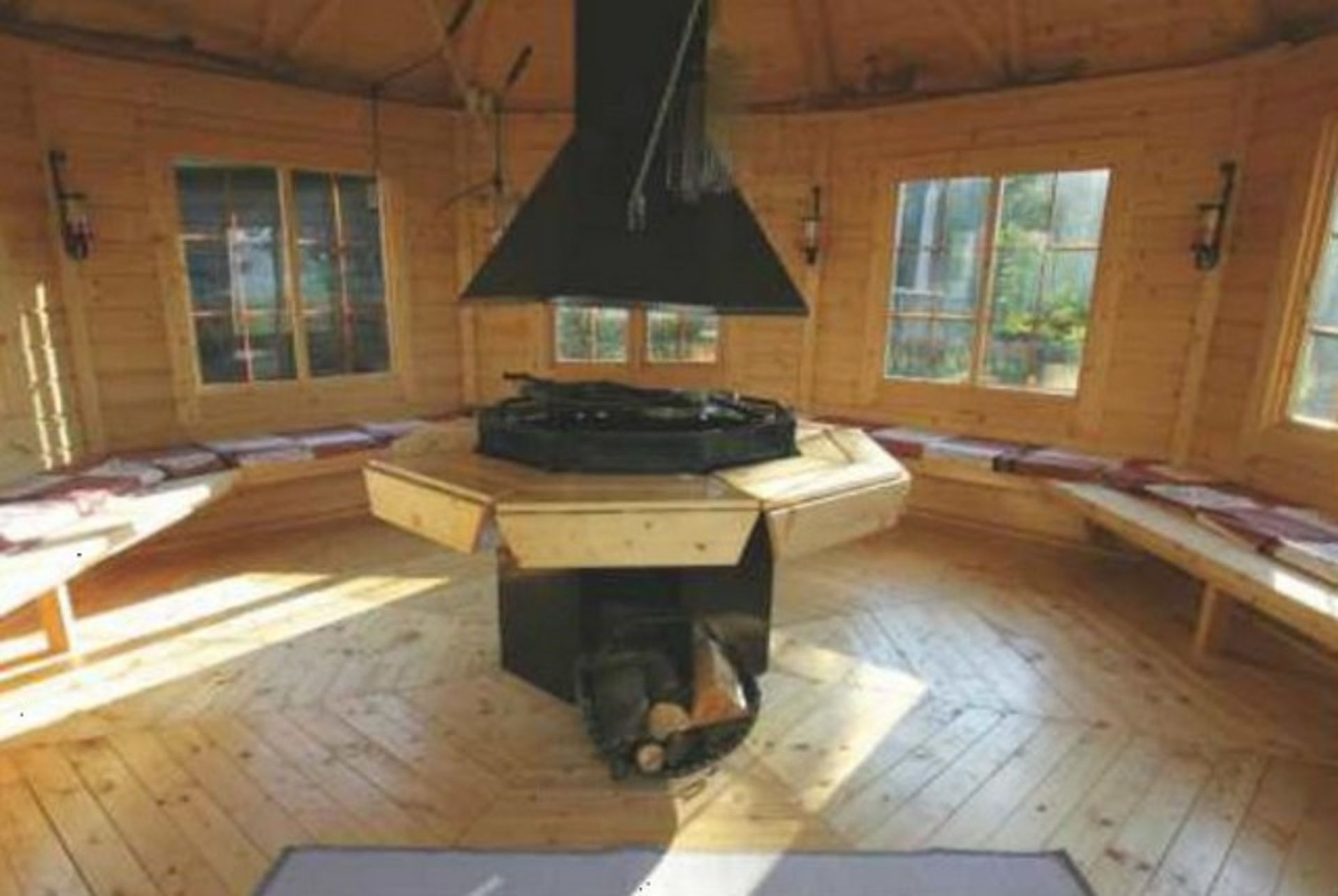 Lot 18034 - V Brand New 16.5m sq 8 Corner Spruce Pavilion - Grill With Cooking platforms and table around the