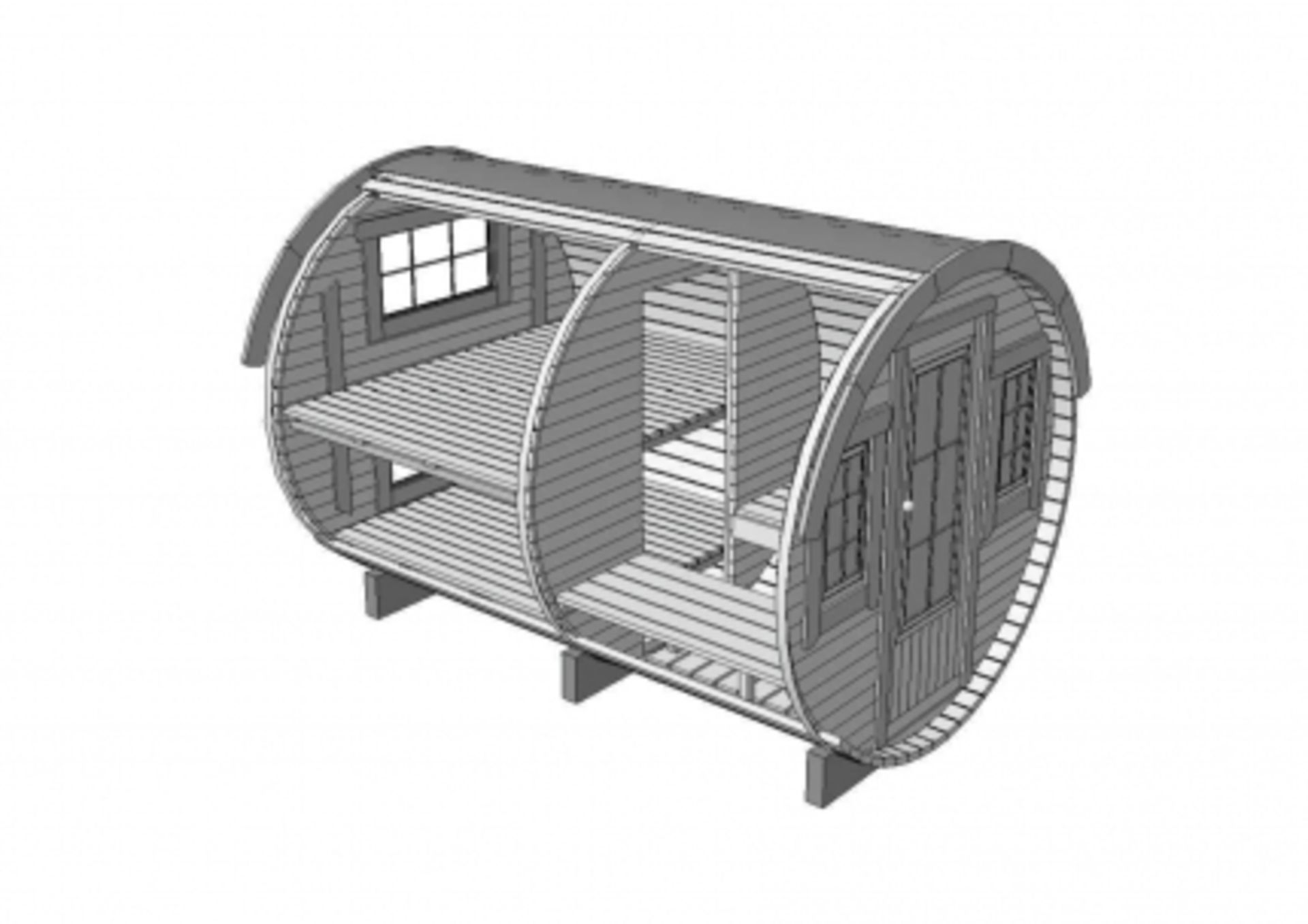 Lot 18020 - V Brand New 2.2 x 3.3m Barrel For Sleeping - Sleeping & Sitting Rooms Inside - Sleeping Room With
