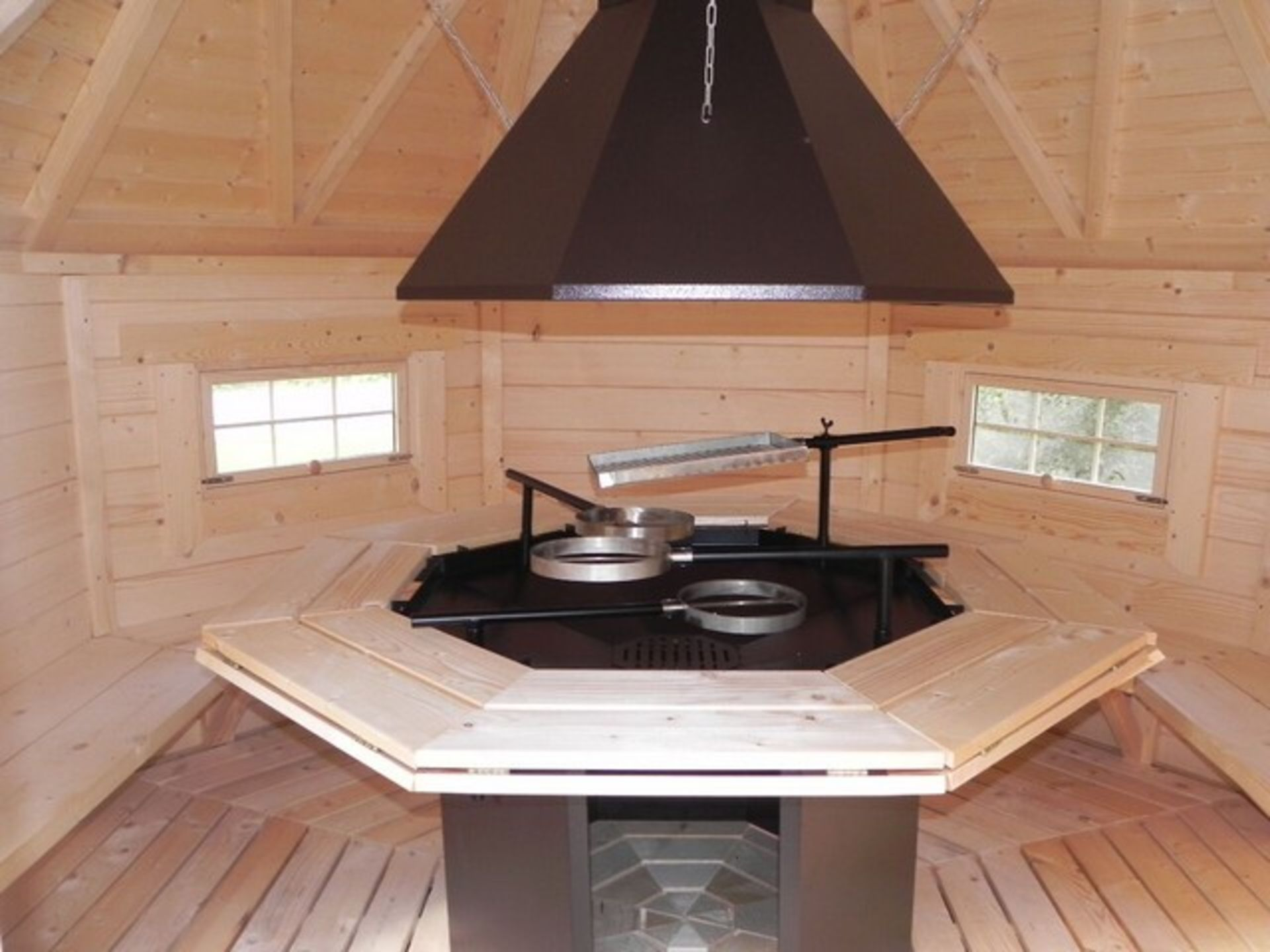 Lot 18051 - V Brand New Eight Corner 6.9m sq Grill Cabin - Standard Grill with Cooking Platforms - Table