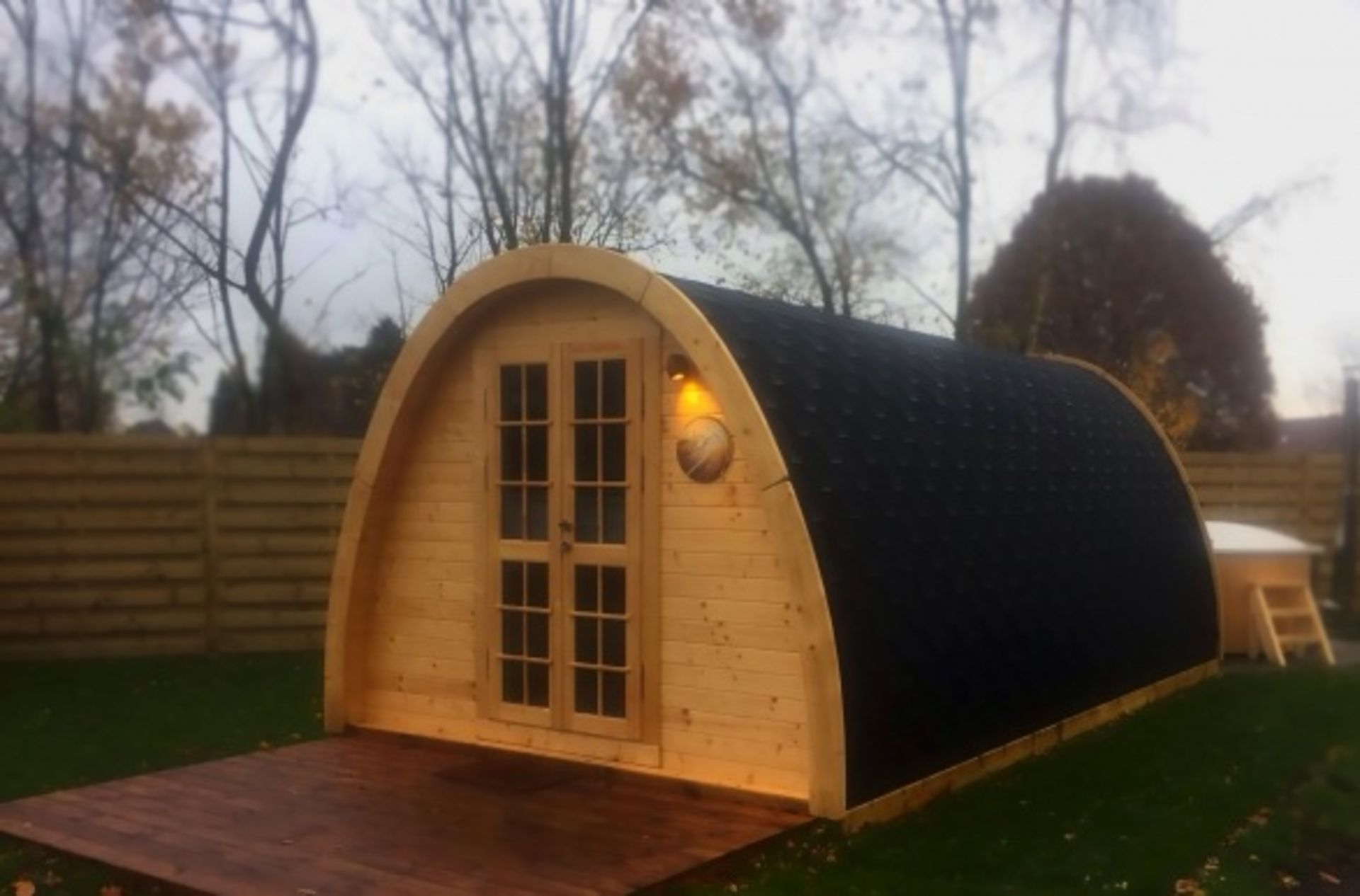 Lot 18055 - V Brand New Insulated Extra Large 3.2 x 5.8m Spruce Camping Pod - French Style Double Glazed Door