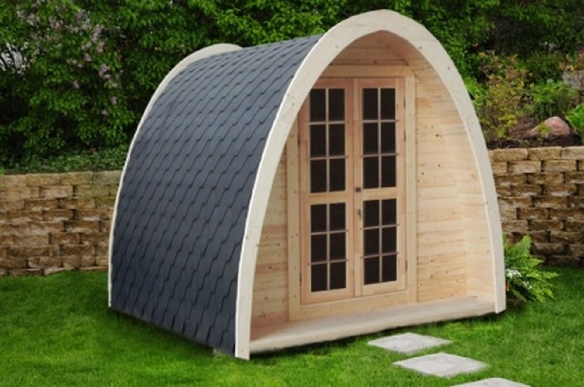 Lot 18042 - V Brand New 4 x 2.4m Camping Pod Made from Spruce - Double doors with Lock and Double Glass