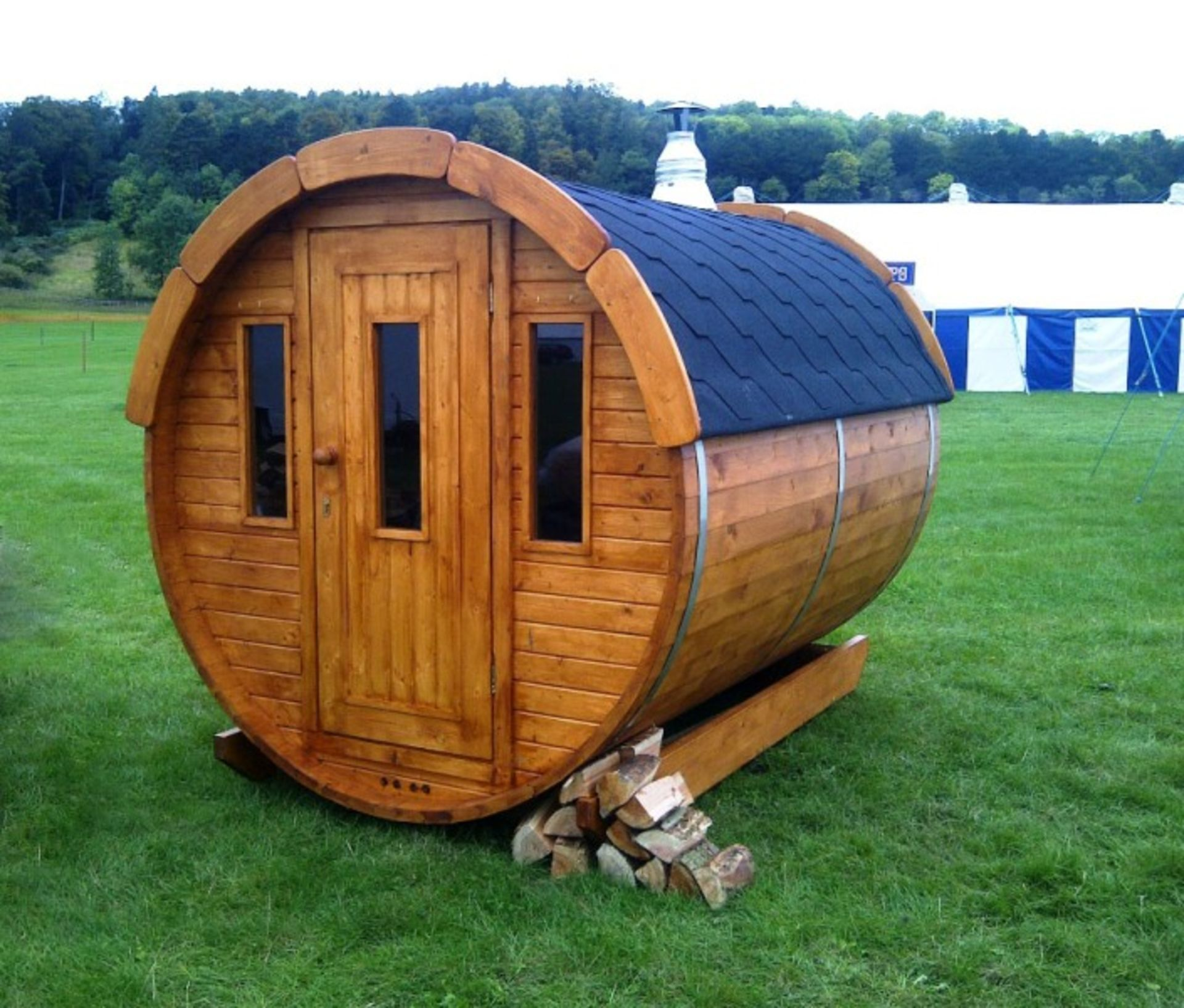 Lot 18015 - V Brand New Superb 2m Garden Sauna Barrel *FULLY ASSEMBLED* - Powerful Harvia Electric Heater -
