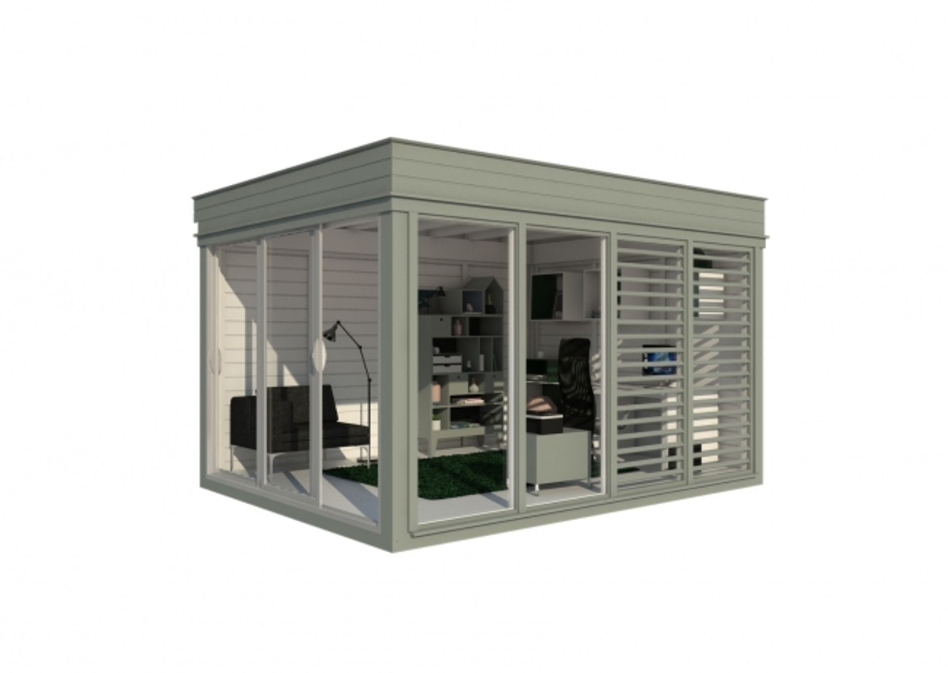 Lot 18023 - V Brand New Insulated 3m x 4m Garden Office Cube With Glass Sliding Doors - Sunscreen Sections -