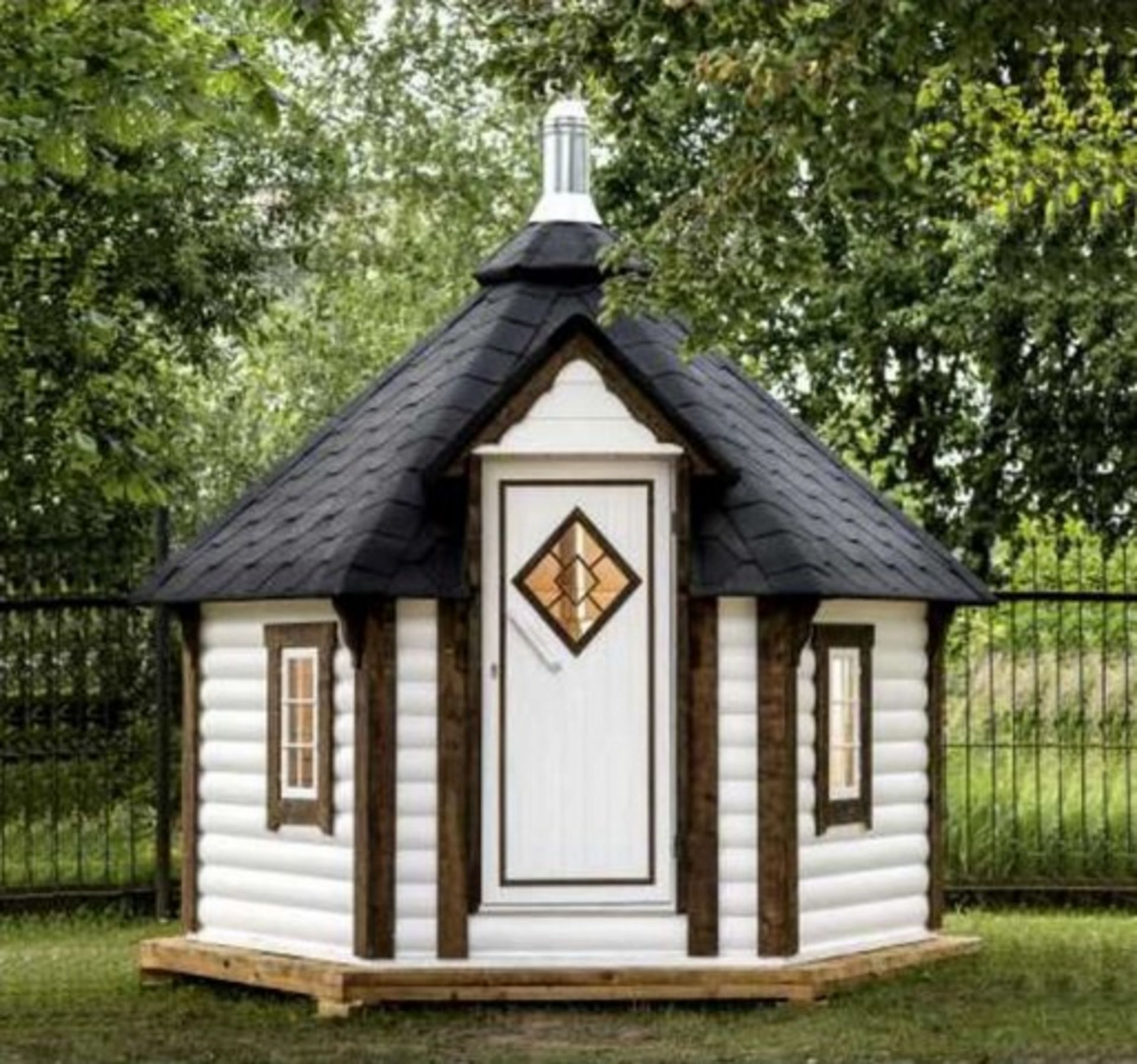 Lot 18033 - V Brand New 7m sq 6 Corner Spruce Sauna Cabin with 9KW Electric Heater - Pallet Dimesions 3 x 1.2