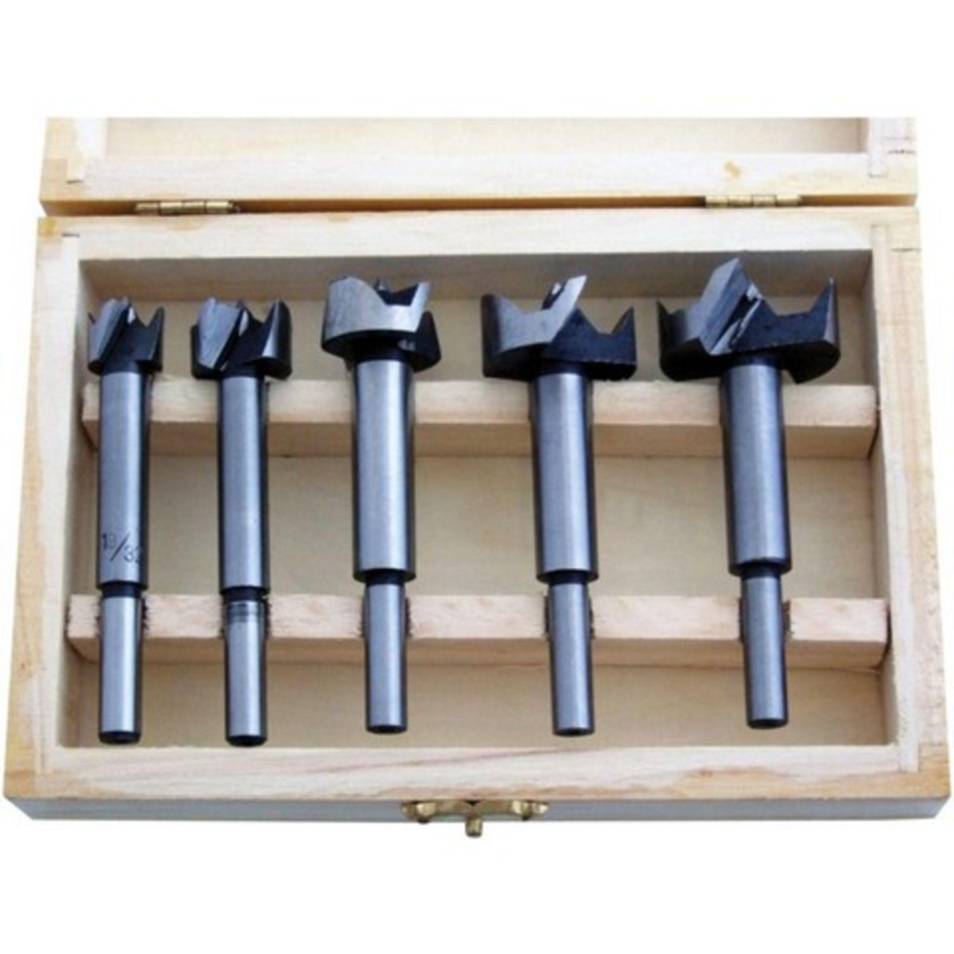 Lot 12575 - V Brand New 5 Piece Forstner Bit Set In Wooden Case