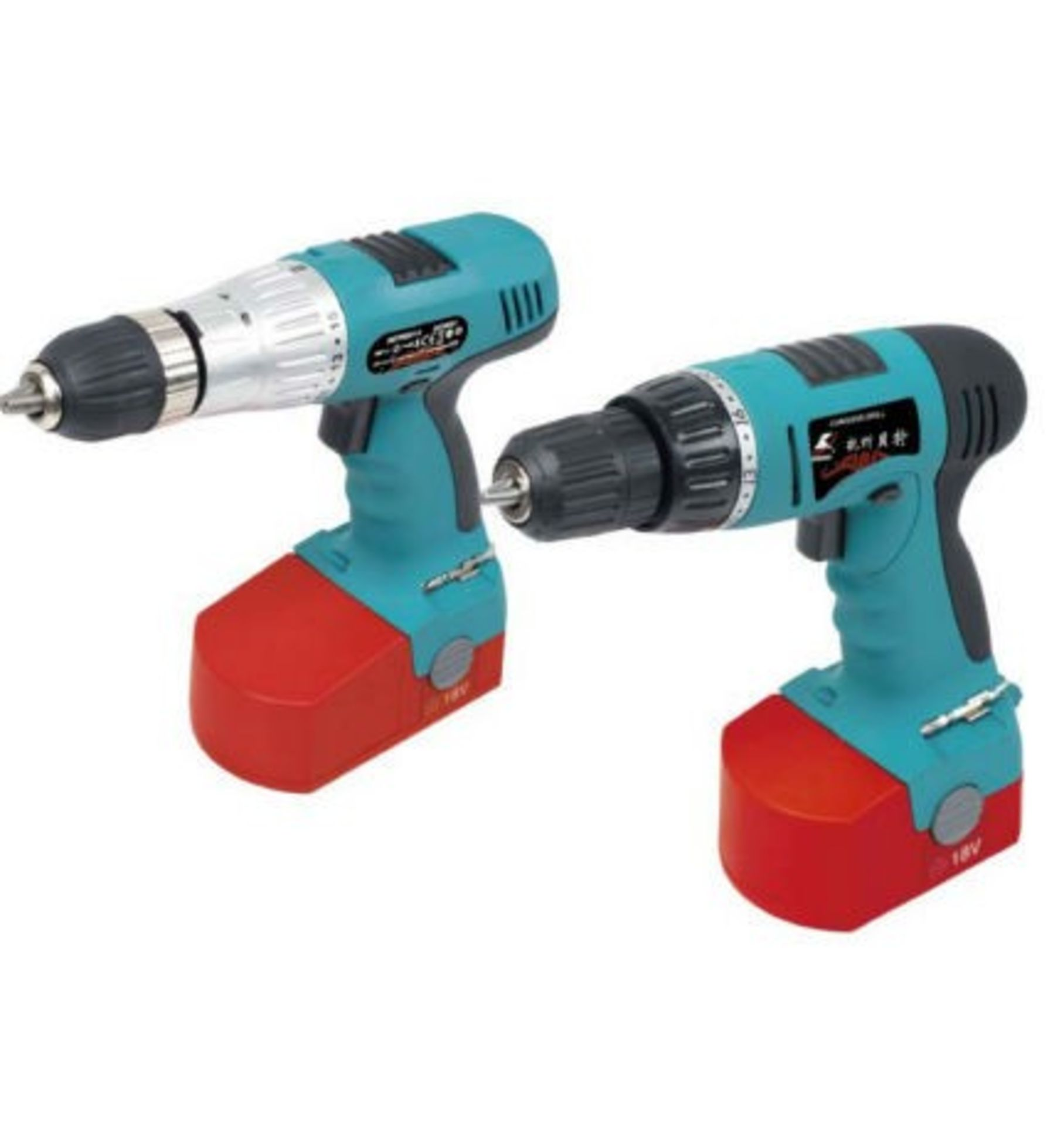 Lot 10063 - V Brand New 18V Twin Drill Kit with Hammer Action and Torque Adjustment - with 15 Asssorted Drill