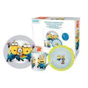 + VAT Brand New Despicable Me 3 Piece Porcelain Breakfast Set (Minion Made!!) Includes 17 cm Bowl -