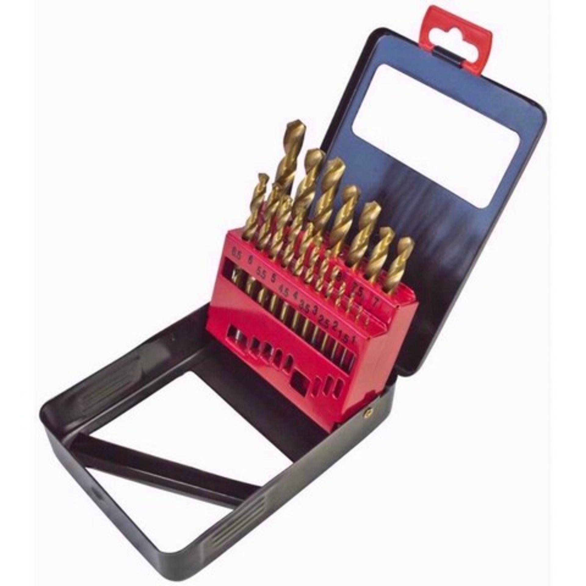 Lot 12989 - + VAT Brand New Nineteen Piece Titanium Coated Drill Bit Set