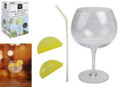 + VAT Brand New Kensington Gin Cocktail Gift Set Includes Gin Bowl Glass-Straw-Two Lemon Reusable