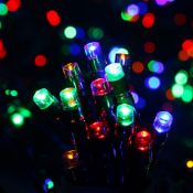 + VAT Brand New 50 Multi coloured LED Solar String Lights - Outdoor Use