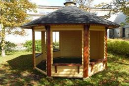 + VAT Brand New Eight Corner 9.9m sq Spruce Open Pavilion/Gazebo - 3 Open Walls and 4 Closed