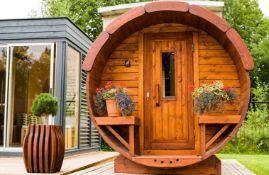 + VAT Brand New Wonderful Spruce Sauna Barrel (2.5m length total) With Front Terrace & Powerful