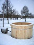 + VAT Brand New 2.2m Spruce Hot Tub with External Wood Burning Heater - Outlet Valve for Hose