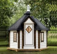 + VAT Brand New 7m Sq Sauna Cabin - Roof Covered With Bitumen Shingles - Two Double Glass Windows -
