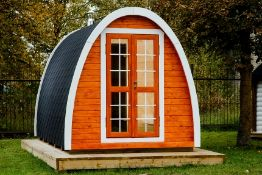 + VAT Brand New 2.4 x 4m Sauna Pod - Made From Spruce Wood - Roof Covered With Bitumen Shingles -