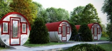 + VAT Brand New 2.2 x 4.4m Barrel For Sleeping - Family Size - Sleeping & Sitting Rooms Inside -
