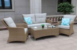 + VAT Brand New Chelsea Garden Company Double Sofa And Two Armchair Set - Includes Glass Top