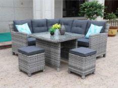 + VAT Brand New Chelsea Garden Company Corner Sofa Set Inc Footstools & Glass Top Table - Aluminium