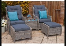 + VAT Brand New Chelsea Garden Company Two Reclining Sofa Chairs + Two Footstools And Glass Top