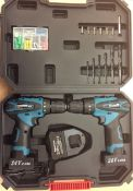 + VAT Brand New 24 volt Twin Drill Set Lithium Ion Cordless In Carry Case With Keyless Chuck -