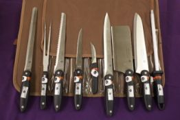 + VAT Brand New 9 Piece Chef's Knife Set with Sharpening steel in Cary Case RRP £199/$275