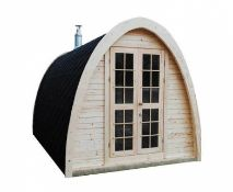 + VAT Brand New 2.4 x 2.3m Sauna Pod From Thermo Wood - Roof Covered With Bitumen Shingles - Two