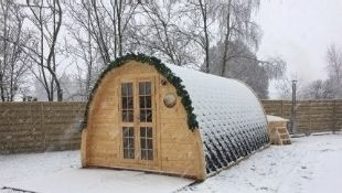 + VAT Brand New 2.4 x 5.9m Camping Pod - Pod Made From Spruce - Roof Covered With Bitumen