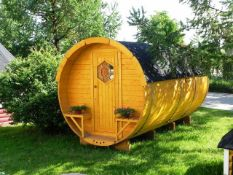+ VAT Brand New 4 x 2.4m Barrel For Sleeping - Sleeping Room 2 x 2m - Small Benches at Entrance -