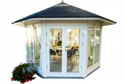+ VAT Brand New 10m Sq Pavilion - Seven Double Glass Windows - 3 Opening - Double Doors With Lock -