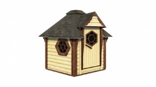 + VAT Brand New 4.5m Sq Sauna Cabin - Roof Covered With Bitumen Shingles - Double Glass Window (