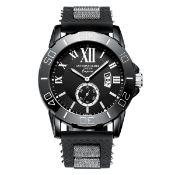 + VAT Brand New Gents Anthony James London Emperor Multi Dial Jet Black Watch - Moving Bezel - Date