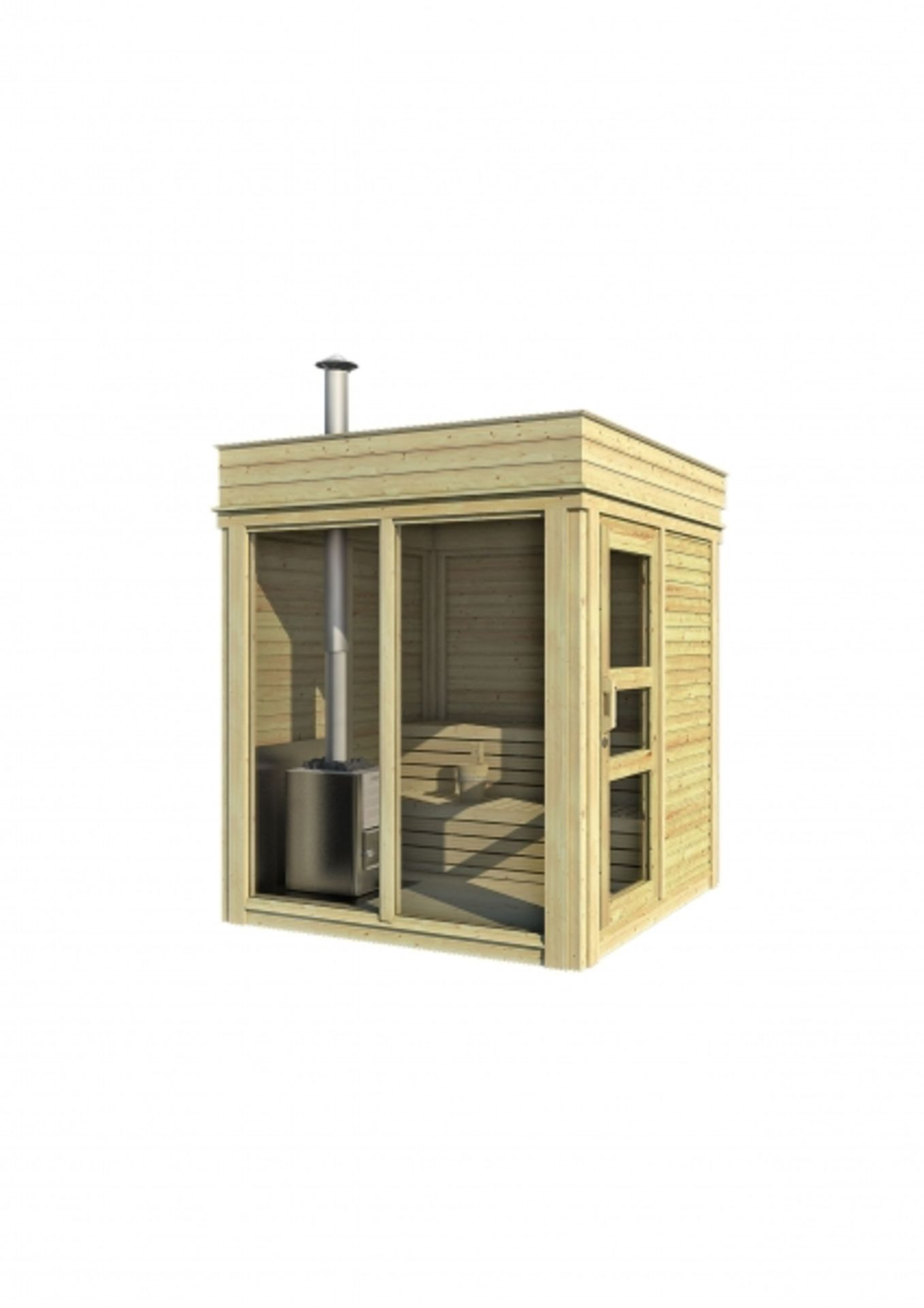 Lot 19015 - + VAT Brand New 2 x 2m Sauna Cube - Made From Spruce Wood - Roof Covered With Black Bitumen Weld