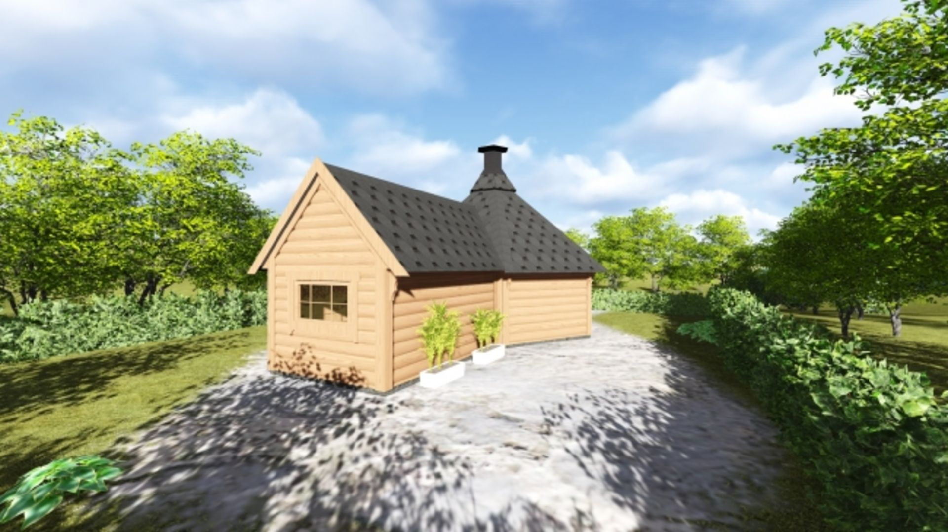 Lot 19044 - + VAT Brand New 9.2m sq 6 Corner Spruce Grill Cabin With Sauna Extension - 9KW Electric Heater -
