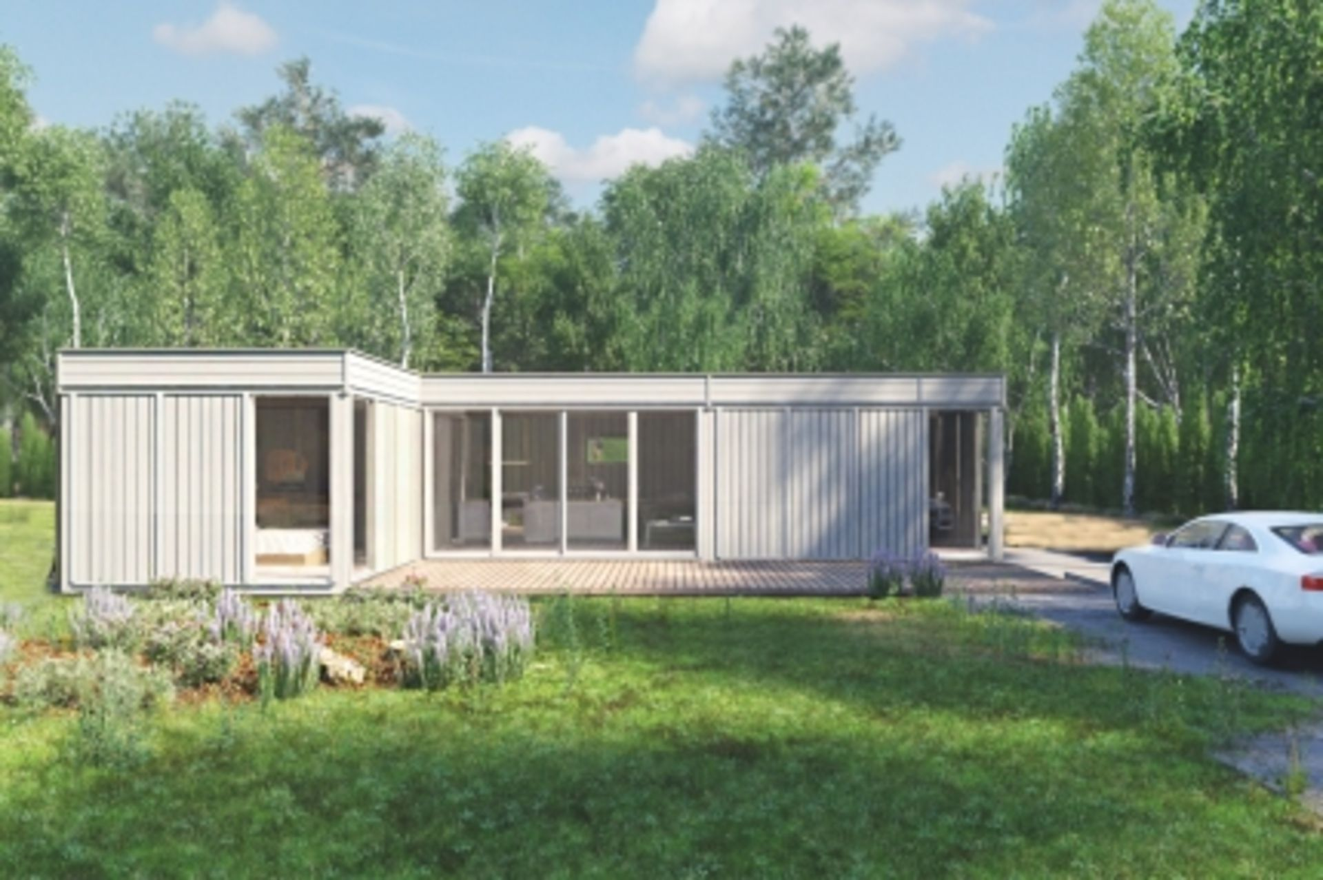 Lot 19001 - + VAT Brand New Glamping Cube 42 M2 L Shape - 4 Units Garden Cube Frames From Spruce 3 x 3m (2
