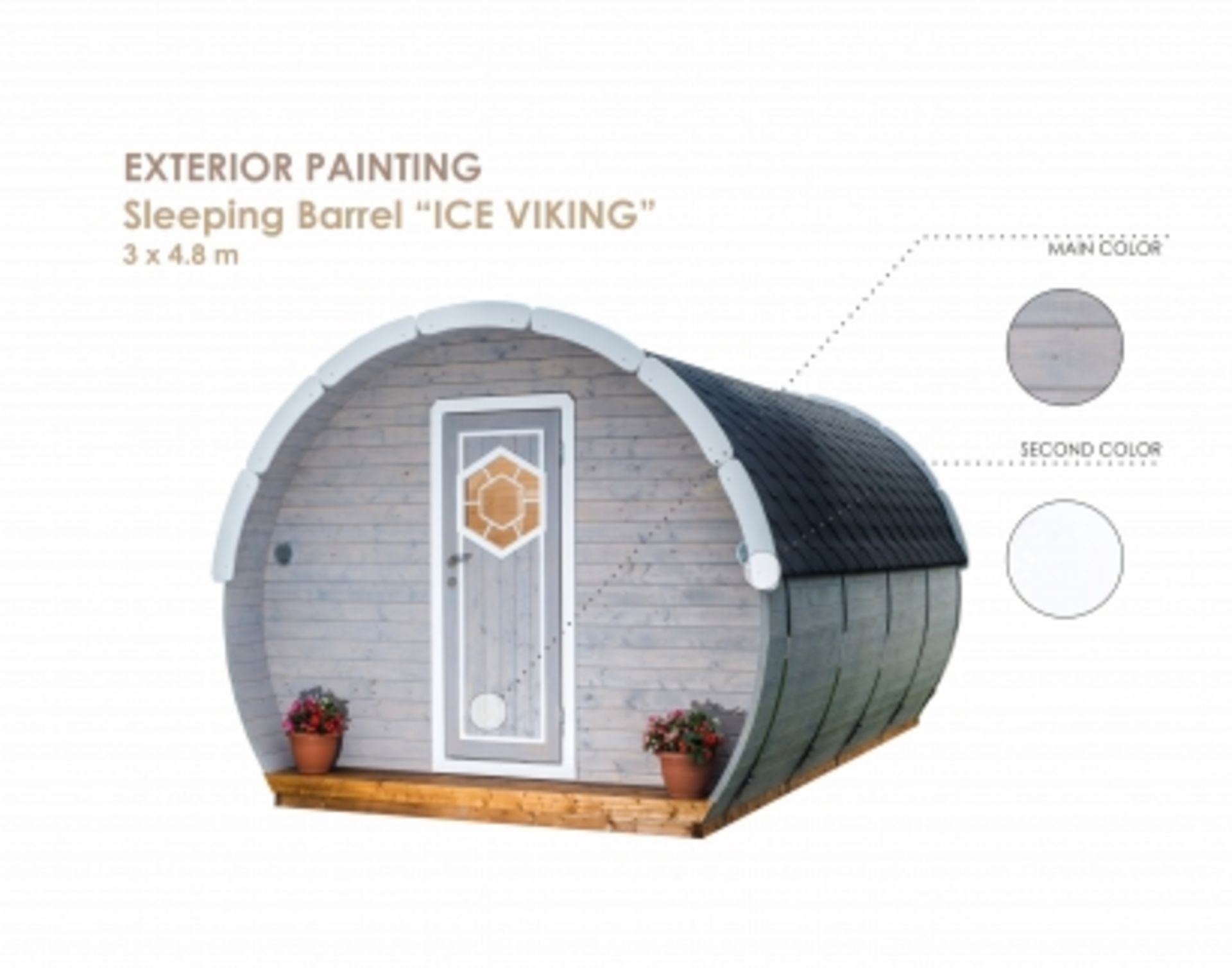 Lot 19003 - + VAT Brand New 3 x 4.8m Ice Viking Sleeping Barrel - Barrel Made From Spruce - Roof Covered With