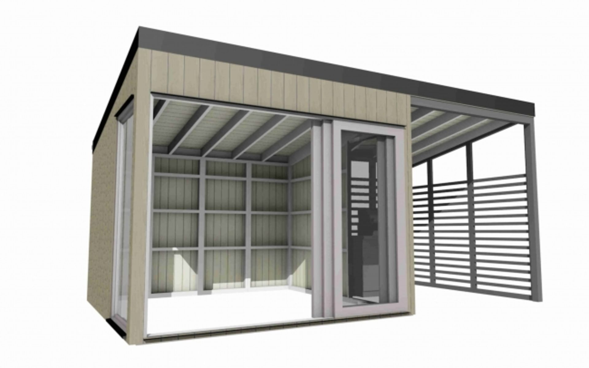 Lot 19028 - + VAT Brand New Superb Spruce 5m x 3m Garden Living Cube With Covered Outdoor Terrace Section -