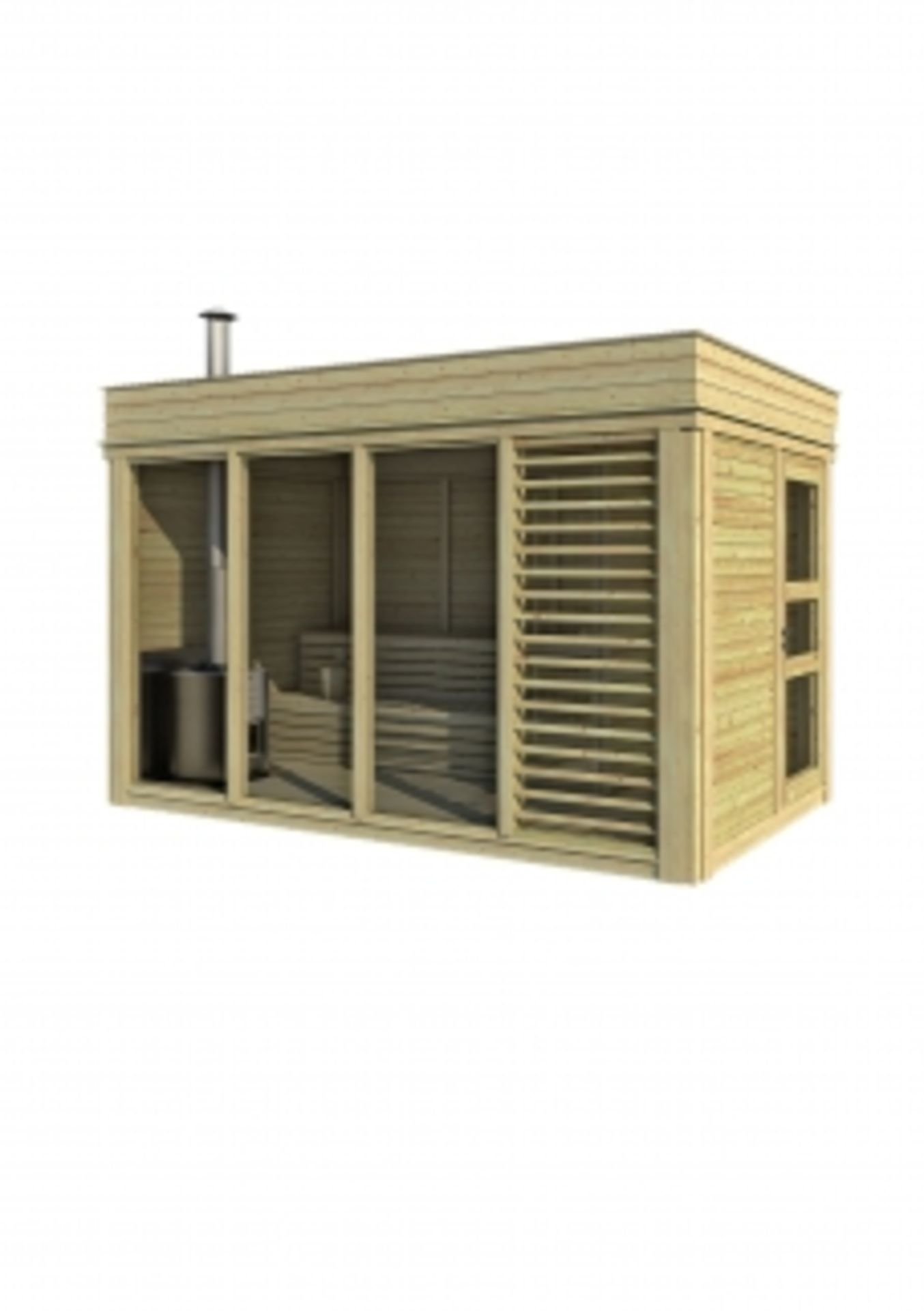 Lot 19013 - + VAT Brand New 2 x 4m Sauna Cube With Changing Room - Made From Spruce Wood - Roof Covered With