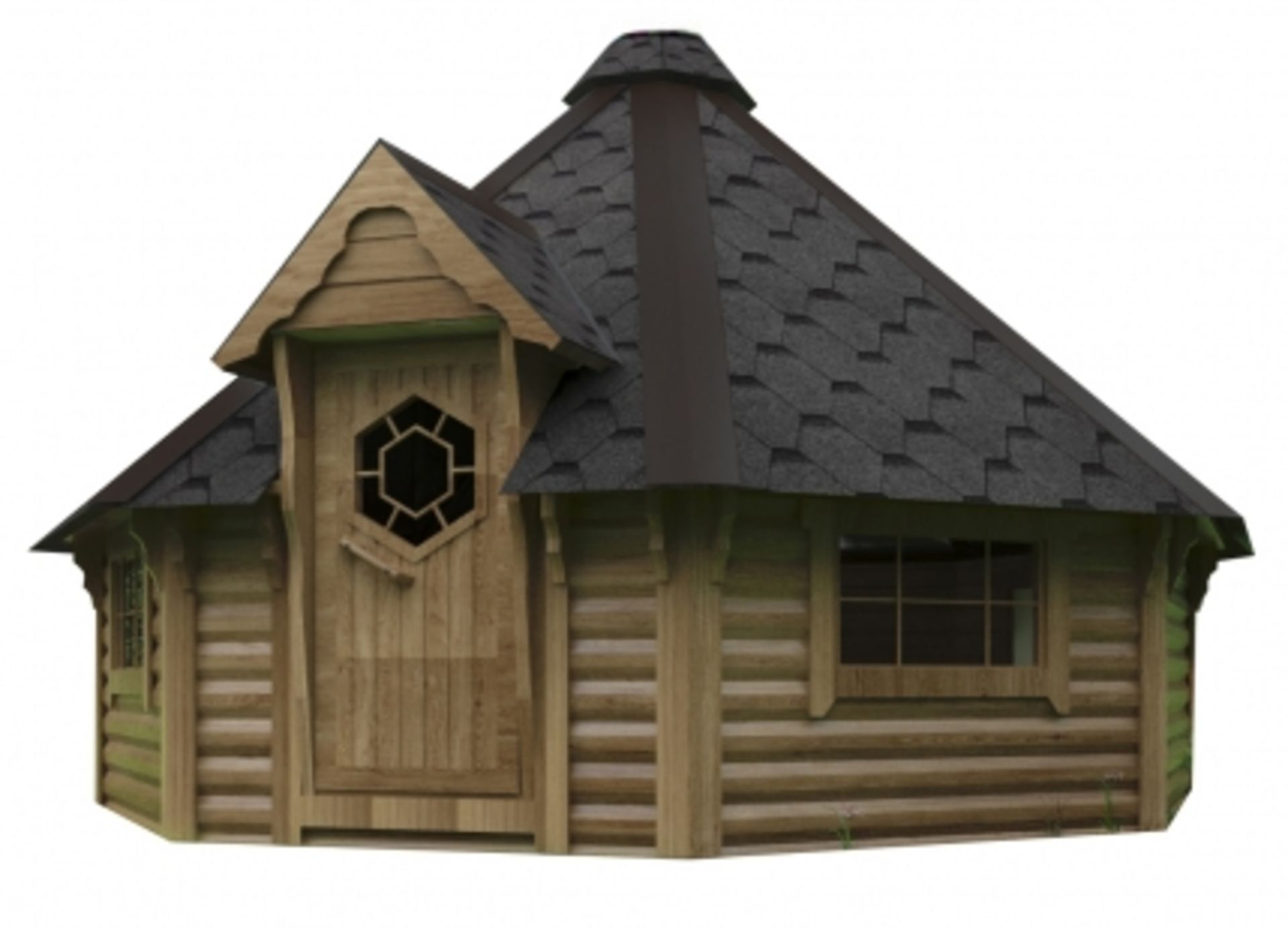 Lot 19005 - + VAT Brand New 16.5m Sq Camping Cabin - Eight Corner Cabin - Roof Covered With Bitumen Shingles -