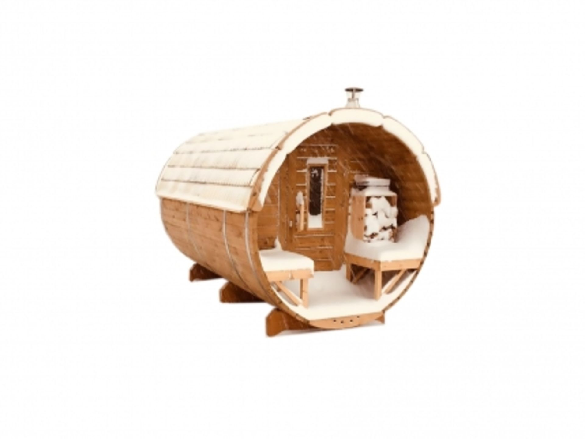 Lot 19019 - + VAT Brand New 3 x 1.9m Sauna Barrel - Made From Spruce Wood - Roof Covered With Wooden Shingles -