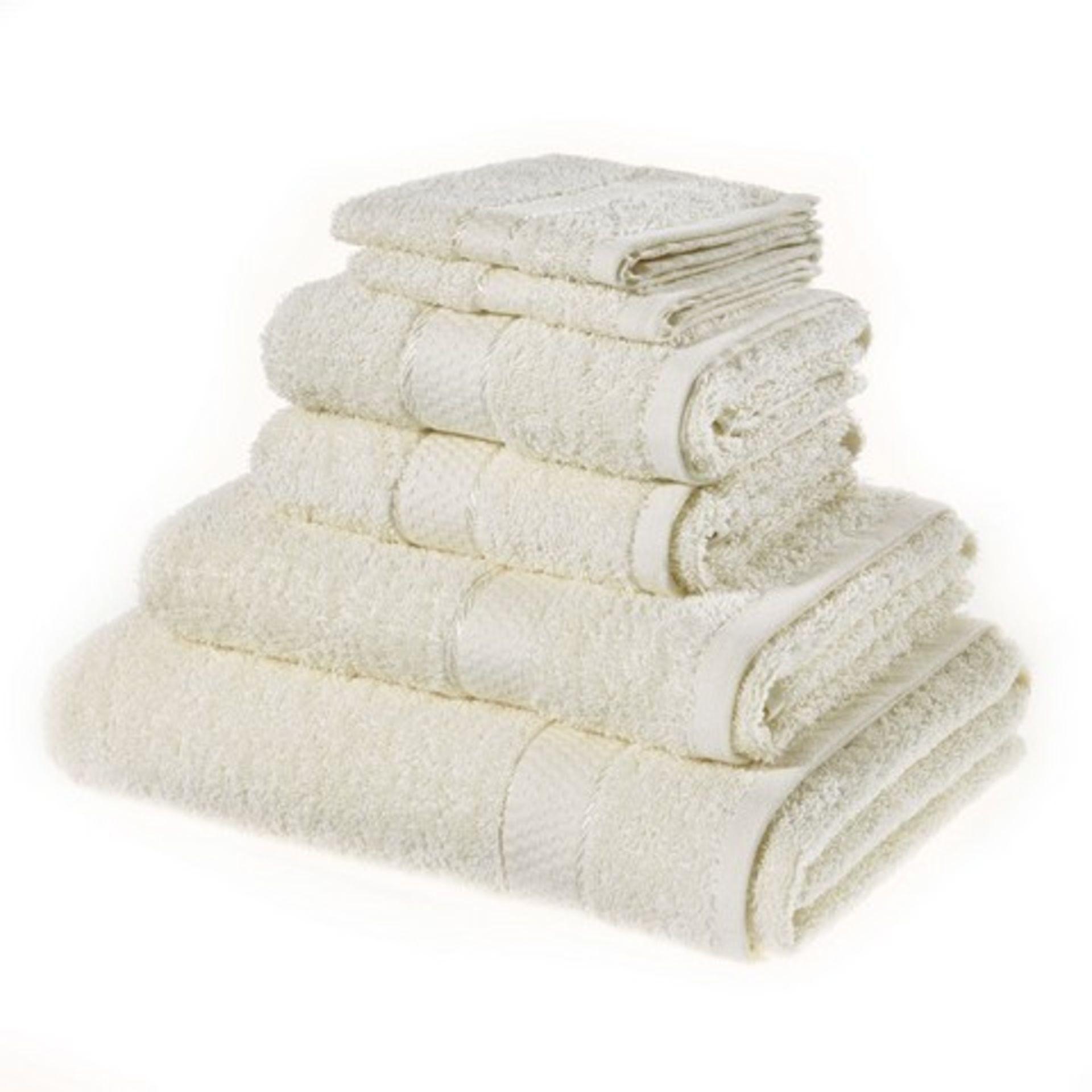 + VAT Brand New Cream 6 Piece Towel Bale Set With 2 Face Towels - 2 Hand Towels - 1 Bath Sheet - 1