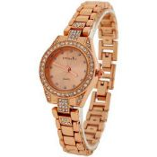 + VAT Brand New Ladies Swarovski Crystal Eternity Watch With Rose Strap & Bezel