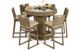 + VAT Brand New Chelsea Garden Company Six Seat Circular Table Set - Aluminium Framed - Includes