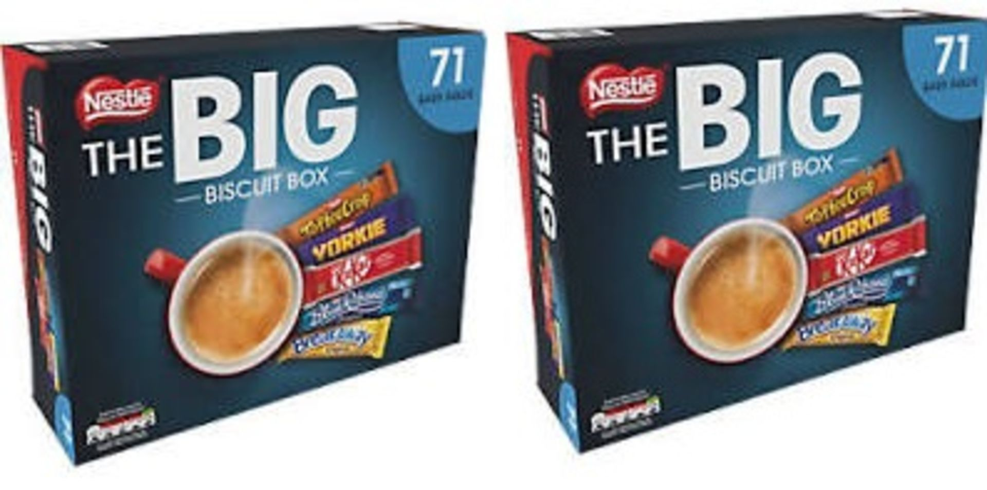 + VAT Brand New 142 Biscuits (2 x The Big Biscuit Box) Including Toffee Crisp, Yorkie, KitKat, Blue