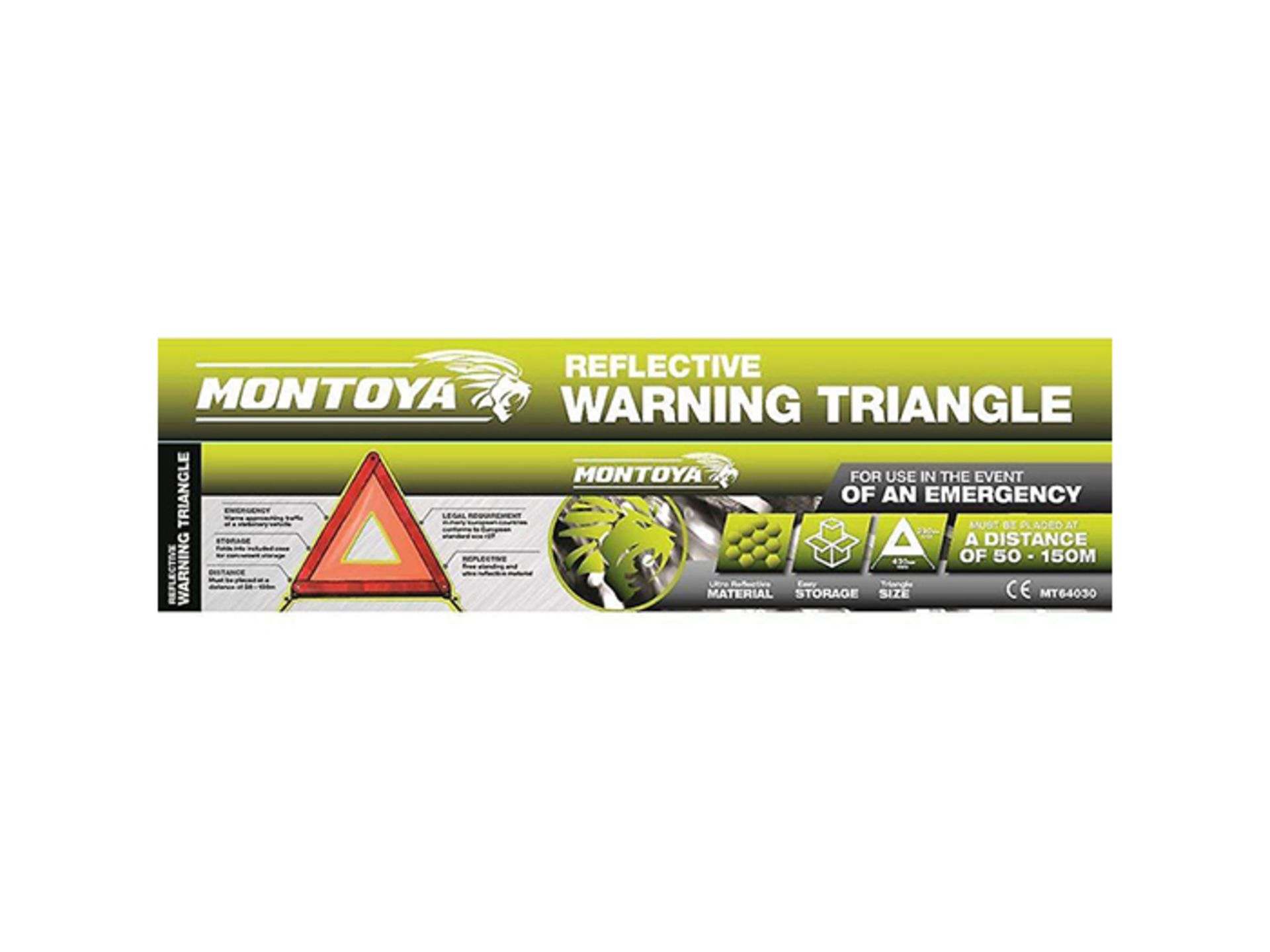 + VAT Brand New Montoya Reflective Warning Triangle - Ultra Reflective Material - Easy Storage