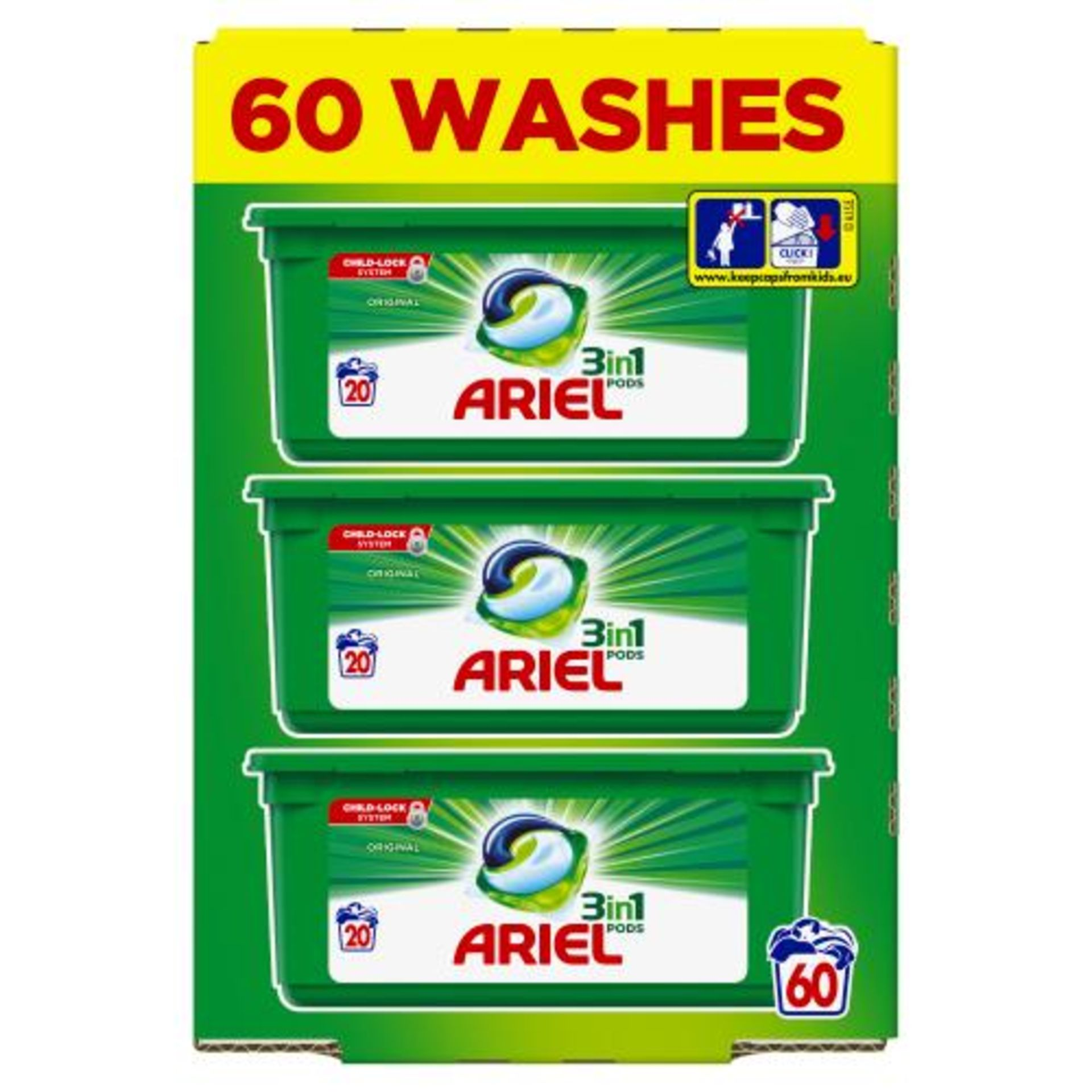 + VAT Brand New Sixty (3x20) Ariel 3 In 1 Washing Pods - Cleans, Lift Stains & Brightens Your