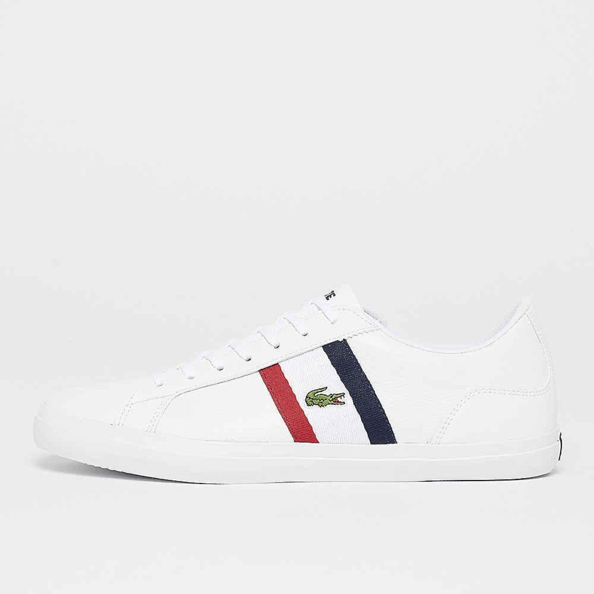 + VAT Brand New Lacoste Trainers UK Size 9.5 - White Red Navy - Leather and Synthetic - EU Size