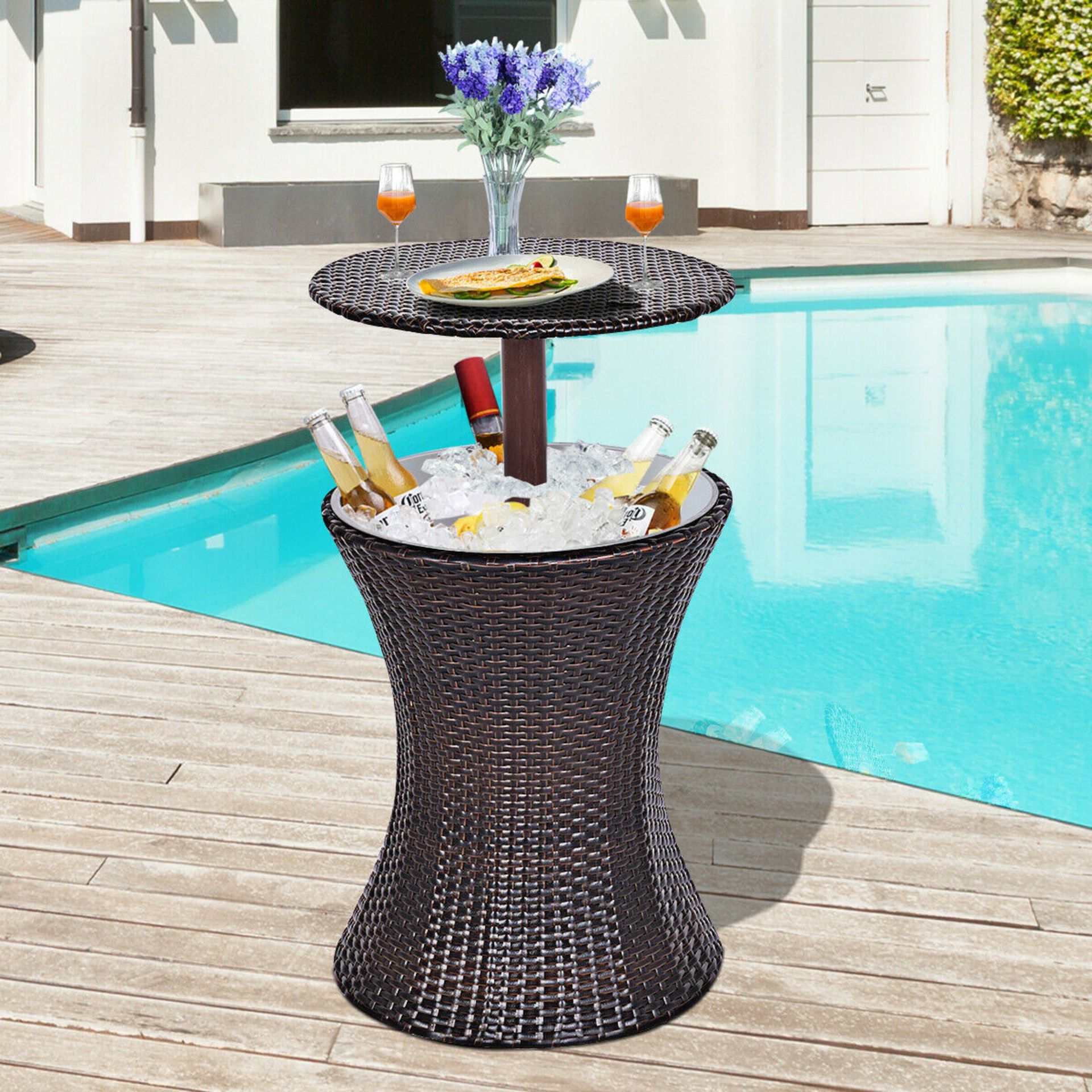 + VAT Brand New Chelsea Garden Company Rattan Bar Table With Metal Ice Cooler - Finished In - Image 3 of 3