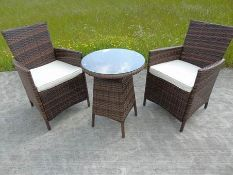 + VAT Brand New Chelsea Garden Company Two Person Table & Chair Set - Light Brown Rattan With Ivory