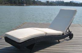 + VAT Brand New Chelsea Garden Company Dark Brown Rattan Sunbed - Steel Framed - Include Cushion -